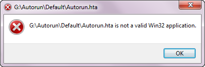 autorun.hta is not a valid win32 application
